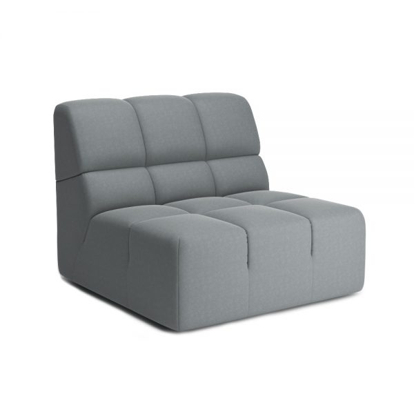 ROGER ARMLESS CHAIR VIEW ANGLED GREY
