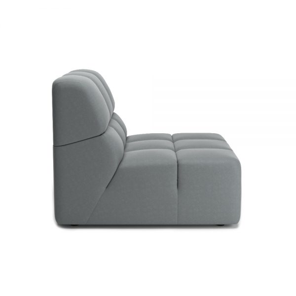 ROGER ARMLESS CHAIR VIEW SIDE GREY