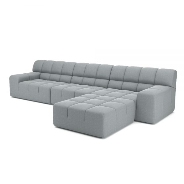 ROGER 4 SEATER SOFA WITH OTTOMAN VIEW ANGLED GREY
