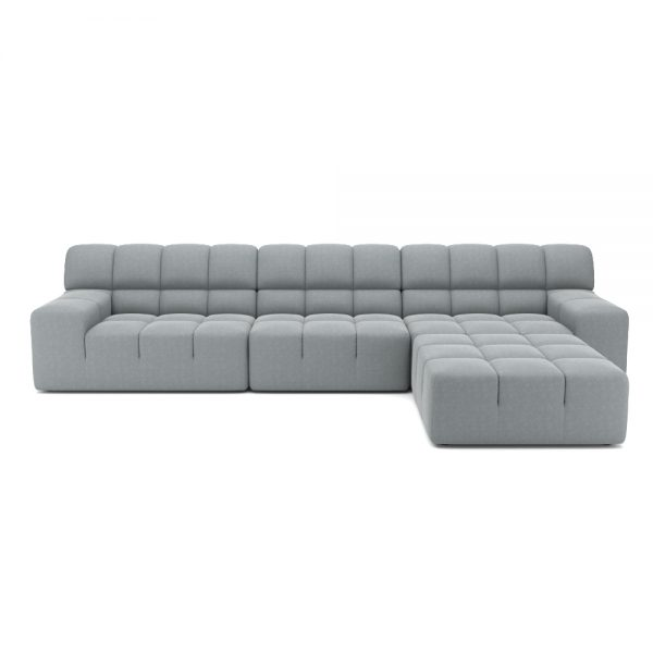 ROGER 4 SEATER SOFA WITH OTTOMAN VIEW FRONT GREY